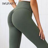 IWUPARTY высокой талией Йога Legging Femme Scrunch Bum гетры Женщины Push Up Sweatpants Workout Gym Колготы Обучение Спортивные тренажеры