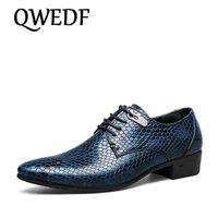 QWEDF новый имитации змеиной кожи мужчин оксфорды зашнуровать свободного покроя бизнес обувь бренд свадебные туфли в горошек Платье большой размер Зи-11
