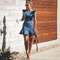 독특한 데님 드레스 agaric 모자 슬리브 desginer 여름 sundress 백리스 미니 청바지 치마 패션 캐주얼 여성 의류 블루 도매