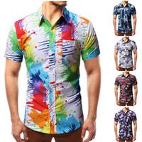 Erkek Renkli sıçramak Boya Desen Baskı Gömlek Slim Fit Kısa Kollu Chemise Homme Moda Splash Mürekkep Gömlek Erkekler