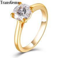 Transgems Solitaire Set 18 k 750 Sarı Altın 1ct 6.5mm F Renk Mozanit Nişan Yüzüğü Kadınlar Düğün Için C1