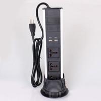 Wyciągnięcie gniazda pulpitu z 2 energią amerykańską i 2 ładowarką USB do gniazda kuchennego i biurowego