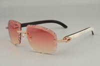 19 cuernos de mayor venta mezcla natural / gafas de sol cuerno negro, 8300075-A, de gama alta gafas de sol de lujo del diamante Tamaño: 58-18-140 gafas de sol