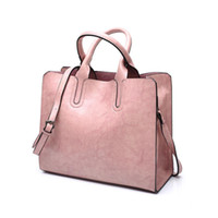 HBP المرأة حقيبة النفط الشمع المرأة حقائب جلدية محفظة فاخر سيدة حقائب اليد جيب رسول كبيرة حمل كيس bols اللون الوردي