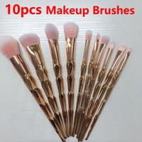 Make-up Pinsel 10er Set Professionelle Blush Powder Make-up Pinsel Augenbrauen Lidschatten Lippen Nase Rose Gold Blending bilden Bürsten kosmetische Werkzeuge