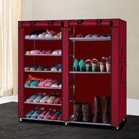 6-рядная 2-Линейная 12 решеток нетканая ткань обувная стойка комбинированный стиль обувная стойка организатор хранения обуви обувной шкаф Бесплатная доставка
