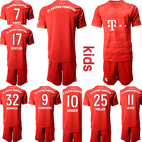 Custom 1920 Munich Kids Football Kits 32. KIMMICH 25.MULLER 17.BOATENG Jerséis de fútbol juvenil junior 11.JAMES 10.ROBBEN 9.LEWANDOWSKI 7.RIBERY