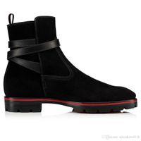 Мода Роскошные мужские ботинки красные нижние ботинки для низких каблуках Мужчины Обувь Ботильоны Kicko Стиль Black Suede телячьей кожи элегантных мужчин в пинетки