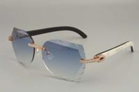 La vente directe série de diamants de luxe haut de gamme 8300817 cornes pur mélange naturel miroir des lunettes de soleil jambes taille décorative lunettes de soleil: 56-18-140