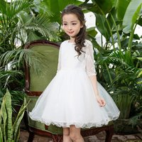New Flower Girl Dresses White First Comunione Dress maniche lunghe Bambini Wedding Party Dress Bambini principessa Graduation Gown