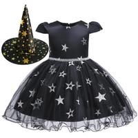 Девушка Хэллоуин платья рюата марлевые звезды жемчужные лук sash косплей платье с ведьмой шляпа детские дизайнерские одежды девушки девочки платья rra1938