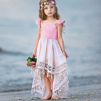 2019 Summer Kids Baby Girl Hollow Lace Уникальный короткий передний длинная спина платье девушки Princess Сборки Suspender Backless Tail Бальные платья B11