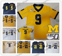 2019 Michigan Wolverines 150TH Custom # 9 Peoples-Jones Blanco Azul marino Amarillo 5 Jabrill Peppers 21 Jersey de fútbol Desmond Howard NCAA