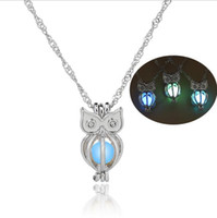 Shpping Green Blue Fluorescence Bead Collana pendente gufo Uccello carino Gufo Glow in the Dark Collana Catena di moda per donna