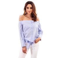 Blouses Femmes Chemises Spring Automne Stripe Top Porter une épaule à manches longues à manches longues