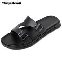 New Summer Men Leather Slippers Fashion Buckle Slides Nonsli...