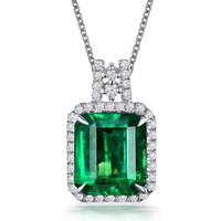 Clássico Imitação Emerald Gemstone Birthstone colar de pingente de ouro branco Jóias Presentes Atacado