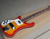 Ücretsiz kargo! Toptan Sol Handed 4 Strings Sunburst Elektrik Bas Gitar Krom Donanım ile, Pickup Kapak, Beyaz Bağlama, Beyaz Pickg0524