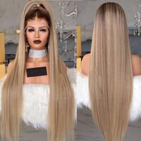 Parrucca frontale lunga in pizzo bionda da 30 pollici pre pizzicata con capelli per bambini