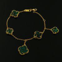 18 karat gelb vergoldet weiß perlmutt achat naturstein fünf blumen armbänder für frauen neuankömmling luxus modeschmuck