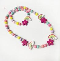 5 stilleri çocuklar kolye setleri Gökkuşağı Charm Boncuk aksesuar Renkli boncuklar bilezik Kuş Çiçek çocuklar kız Doğum Takı hediye