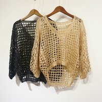 Autumn Women Hollow Out Sequined Pullovers Lady Loose Bling ...