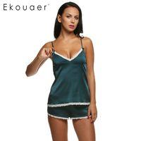Ekouaer Frauen-Kleidung für Sommer Shorts Sets mit V-Ausschnitt Nachtwäsche Satin-Pyjama Frauen-Pyjamas Spaghetti-Bügel-Spitze-reizvollen Pyjama Set CX200702