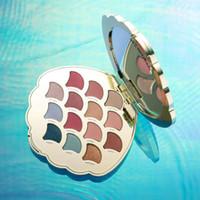 Meerjungfrauoberteil Augenschminkepalette 14 Farben Funkelnpuder Mattlidschattenpaletten Natürliches Augenmake-up Freies Verschiffen