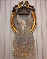 Champagne lussuosi cristalli in rilievo 2019 abiti da casa abiti sexy Guaina sexy Abiti di laurea Stunning Short Tulle Cocktail Party Gowns