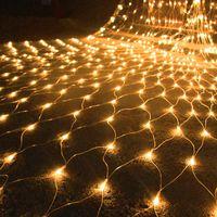 1.5mx1.5m 3mx2m 3mx3m 6mx4m 10mx8m LED rede de rede de fada luz de cadeia de fadas ao ar livre jardim pátio janela cortina de natal feriado feriado chenland luz