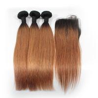 Fasci di capelli umani lisci ombre con chiusura frontale in pizzo 1B / 27 1B / 30 1B / viola 1B / 99J Ombre intreccia i capelli con chiusura