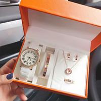 mujeres de la moda 5 juegos incluyen reloj pulsera collar pendientes anillo con diamantes caja de relojes de vestir para damas valentín regalo