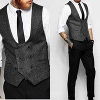 New Dark Grey Double Breasted Vest Suit Herringbone Mens Ves...