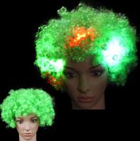 LED 가벼운 가발 깜박이 새해 가발 헤드 곱슬 머리 광선의 폭발 가발 파티 생일 파티에 대 한 파티 모자