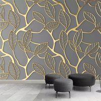 Antecedentes encargo de la foto del papel pintado murales 3D estereoscópicas de oro de las hojas del árbol arte creativo de la sala de estar de pared para TV Papeles Decoración