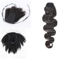 VMAE Brésilien 120g Natural Black Body Wave Kinky Curly Clip droite dans le cordon de cordon de cheval Virgin Remy Extensions de cheveux humains