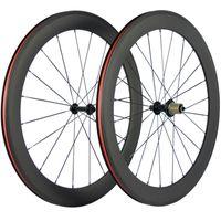 700C Clincher Carbon Wheelset 60mm Profondeur Route Roues Vélo 3K mat avec Basalte Roues surface frein 23mm Largeur