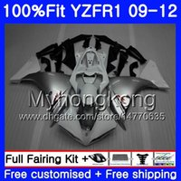 Inyección para YAMAHA YZF 1000 R 1 YZF-1000 YZFR1 09 10 11 12 Blanco plateado 241HM.2 YZF R1 YZF1000 YZF-R1 2009 2011 2011 2012 kit de carenado