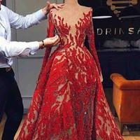 Immagini reali Vintage rosso frizzante Vedere attraverso sirena Abito da sera maniche lunghe Abito da sera Lungo Arabia Saudita Dubai Abiti da cerimonia formale