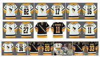 Retro Pittsburgh Penguins Jerseys 11 Darius Kasparaitis 82 STRAKA 17 Sandstrom Ed Olczyk Kovalev BARNABY 20 Robitaille 33 McSorley Hockey