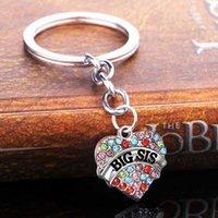 새로운 다이아몬드 합금 키 체인 가족 멤버들 사랑의 하트 열쇠 고리 큰 중간 작은 누나 편지 인쇄 열쇠 고리 귀여운 생일 선물 HYS211