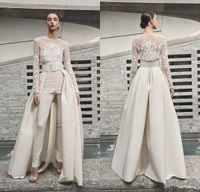 2019 Naeem Khan abiti da sposa delle tute merletto lungo del manicotto con il treno staccabile Beach Abiti da sposa vestiti di pantaloni robe de mariée