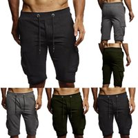 Summer Men Leisure Men Knee Length Shorts Solid Pocket Jogge...