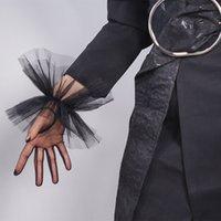 얇은 명주 그물 장갑 세미 쉬어 메쉬 짧은 검은 주름 앙 탄성 수갑 레이스 트림 여성 저녁 장갑 WWS12 레이스