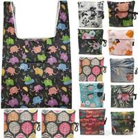 Bolsos de compras plegables de gran tamaño de nylon Inicio almacenamiento de la bolsa reutilizable plegable bolso de compras en el supermercado bolsas de mano 50pcs T1I1646