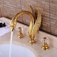Powszechne baterie basenowe Brass Gold / Black Swan Deck Mounted Łazienka Bateria zlew 3 otwór Hot and Cold Water Dotknij