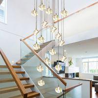 Glaçons cube cristal lustre spirale escalier villa plafonniers LED style moderne pyramide couches lumières penthouse hanvLamp