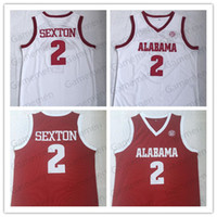 Alabama Crimson Tide Collin 2 Sexton College Basketball прошитой Wears Джерси университета рубашка Красный Белый нашит Джерси Mens