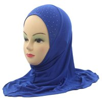 Kids Girls Musulmano Hijab islamico Scialli Beautiful Drill Simple Style circa 45cm per ragazze da 2 a 7 anni
