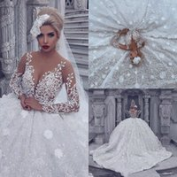 Arabic Vintage Ball Gown Wedding Dresses with Beads Lace Lon...